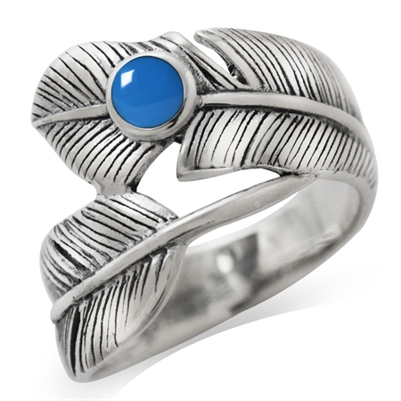 Created Blue Turquoise 925 Sterling Silver Bypass Feather Ring