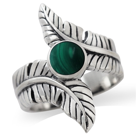 Created Malachite 925 Sterling Silver Bypass BANANA LEAF Ring