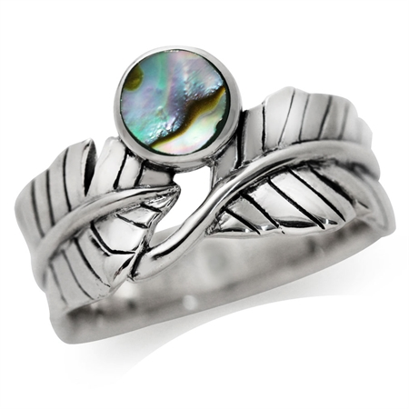 Abalone/Paua Shell 925 Sterling Silver BANANA LEAF Ring