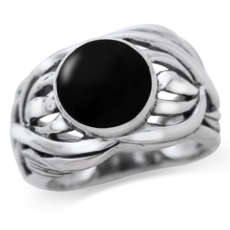 Created Black Onyx 925 Sterling Silver Filigree Leaf Bold Ring
