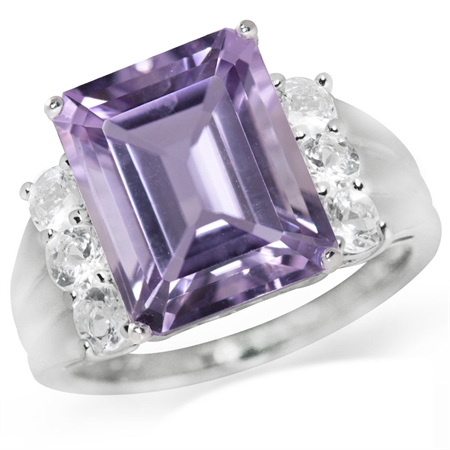 5.41ct. Natural Amethyst & White Topaz 925 Sterling Silver Cocktail Ring