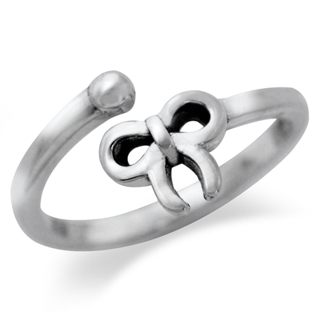 925 Sterling Silver RIBBON/BOW Adjustable Ring