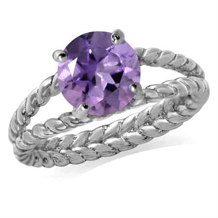 1.66ct. Natural Amethyst 925 Sterling Silver Double Rope Twist Ring