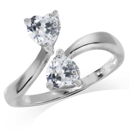 Heart Shape White CZ 925 Sterling Silver Bypass Ring