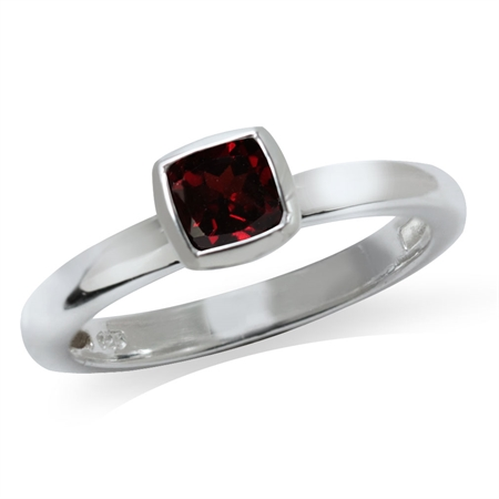Cushion Cut Garnet 925 Sterling Silver Stack/Stackable Solitaire Ring