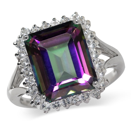 7.28ct. Mystic Fire Topaz White Gold Plated 925 Sterling Silver Cocktail Ring