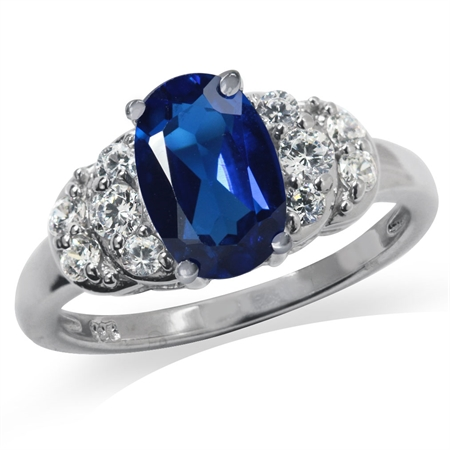 Synthetic Blue Sapphire White Gold Plated 925 Sterling Silver Engagement Ring