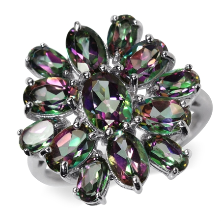 5.84ct. Mystic Fire Topaz White Gold Plated 925 Sterling Silver Cluster Ring