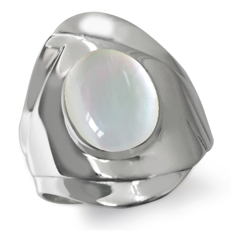 White Mother Of Pearl 925 Sterling Silver Casual Armor Ring