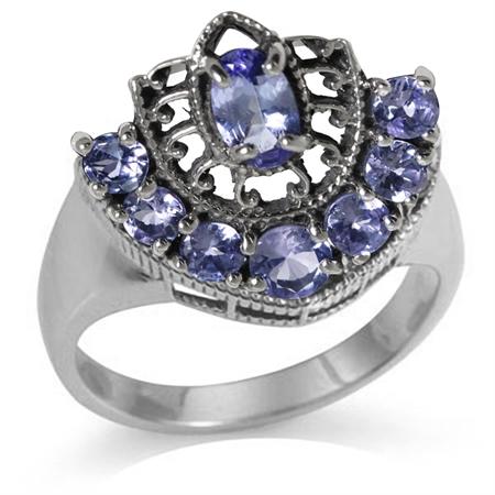 1.58ct. Genuine Tanzanite 925 Sterling Silver Filigree Ring