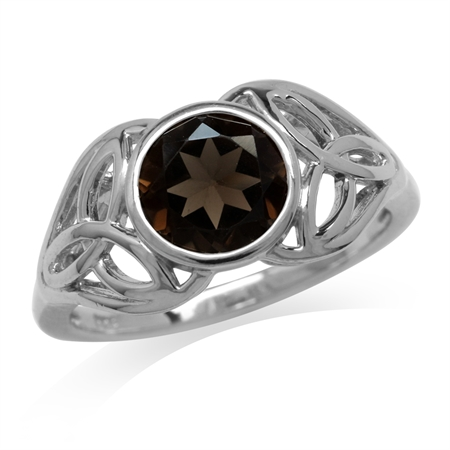 1.79ct. Natural Smoky Quartz 925 Sterling Silver Triquetra Celtic Knot Ring
