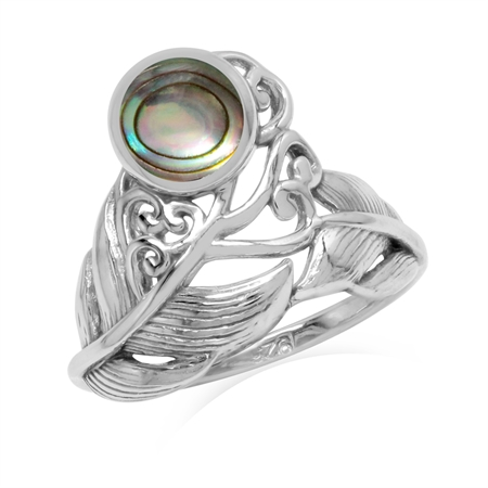 Abalone/Paua Shell 925 Sterling Silver Feather Victorian Style Ring