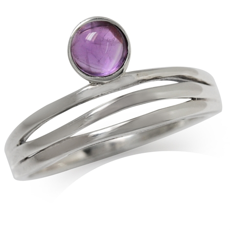 Cabochon Amethyst 925 Sterling Silver 3-Line Minimalist Casual Ring