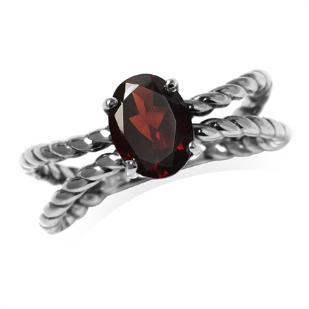 1.45ct. Natural Garnet 925 Sterling Silver Double Rope Ring