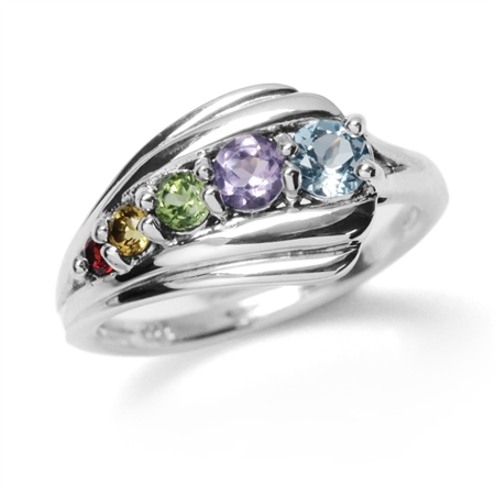 Natural Garnet, Citrine, Peridot, Amethyst & Blue Topaz 925 Sterling Silver Journey Ring