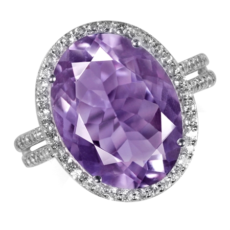 HUGE 8.09ct. 16x12MM Natural Oval Shape Amethyst & White Topaz 925 Sterling Silver Ring