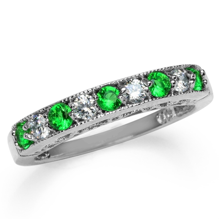 Petite Tsavorite Green & White CZ Gold Plated 925 Sterling Silver Journey Ring