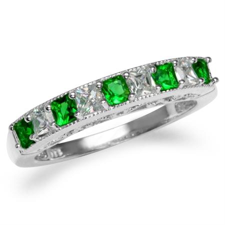 Tsavorite Green CZ White Gold Plated 925 Sterling Silver Journey Ring