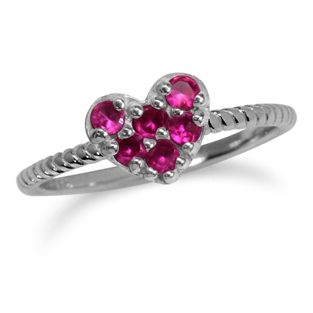 Simulated Ruby White Gold Plated 925 Sterling Silver Stack/Stackable Heart Ring