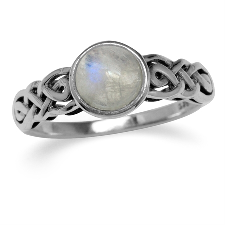 Natural Moonstone 925 Sterling Silver Celtic Knot Solitaire Ring