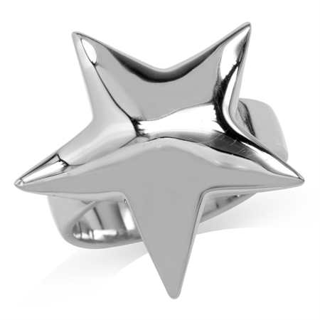 24MM Solid 925 Sterling Silver Bold STAR Casual Ring