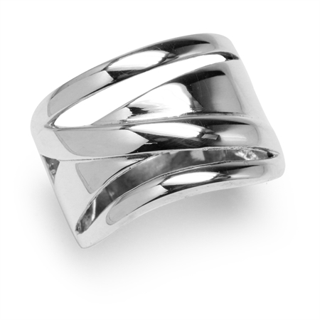 17MM 925 Sterling Silver Wide Band Modern Casual Ring