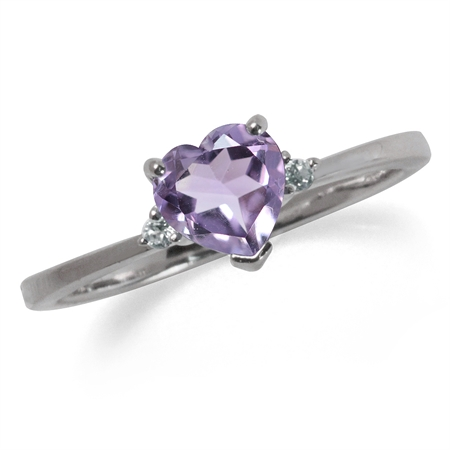 Natural Heart Shape Amethyst & White Topaz Sterling Silver Engagement Ring