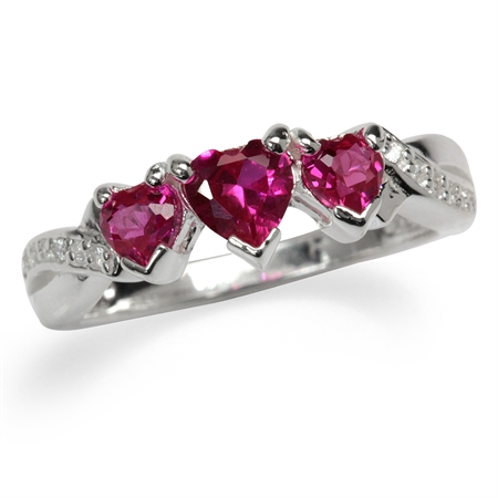 3-Stone Heart Shape Simulated Ruby & White CZ 925 Sterling Silver Ring