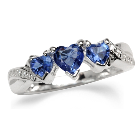 3-Stone Heart Shape Tanzanite Blue & White CZ 925 Sterling Silver Ring