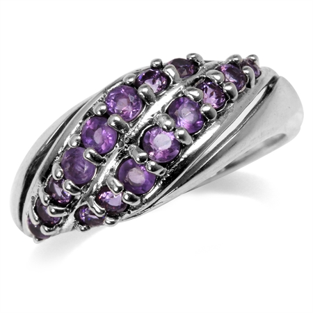 Natural Amethyst 925 Sterling Silver Double Row Graduated Ring