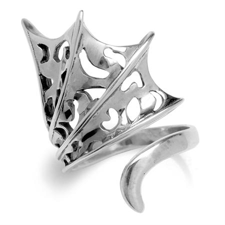 925 Sterling Silver Filigree Adjustable Ring