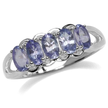 1.3ct. 5-Stone Genuine Tanzanite 925 Sterling Silver Ring