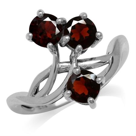 1.77ct. 3-Stone Natural Garnet 925 Sterling Silver Vine Inspired Ring