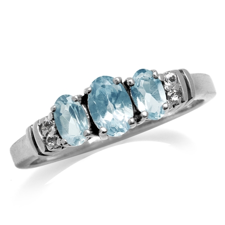 1.14ct. 3-Stone Genuine Blue Topaz White Gold Plated 925 Sterling Silver Ring