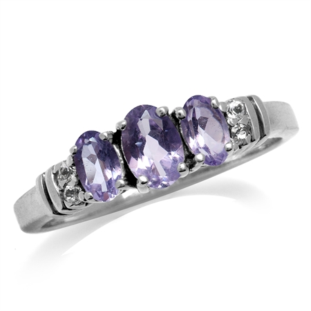 3-Stone Natural Amethyst & Topaz White Gold Plated 925 Sterling Silver Ring