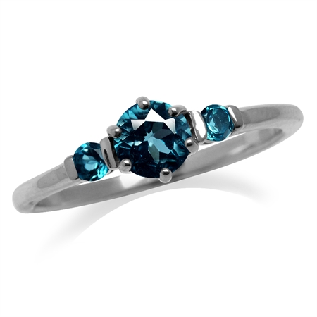 Petite 3-Stone Genuine London Blue Topaz White Gold Plated 925 Sterling Silver Ring