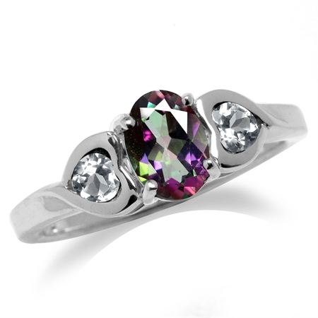 Mystic Fire Topaz White Gold Plated 925 Sterling Silver Engagement Heart Ring