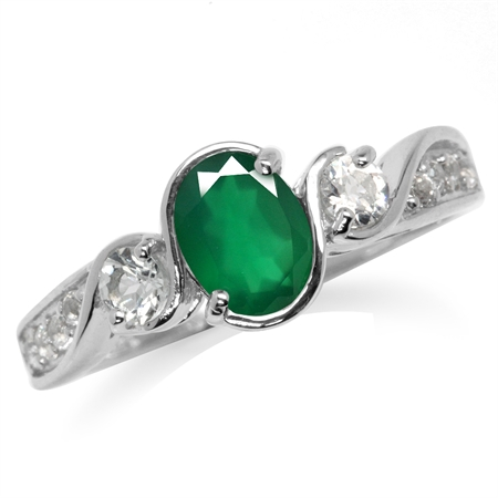 Genuine Emerald Green Agate & White Topaz Gold Plated 925 Sterling Silver Engagement Ring