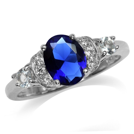 Sapphire Blue CZ White Gold Plated 925 Sterling Silver Right Hand Ring