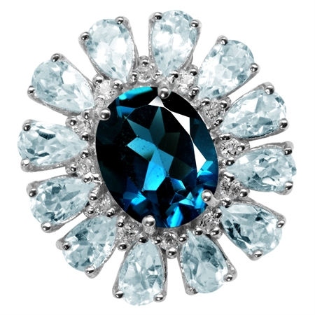 2.66ct. Genuine London Blue Topaz Gold Plate 925 Sterling Silver Cluster Cocktail Ring