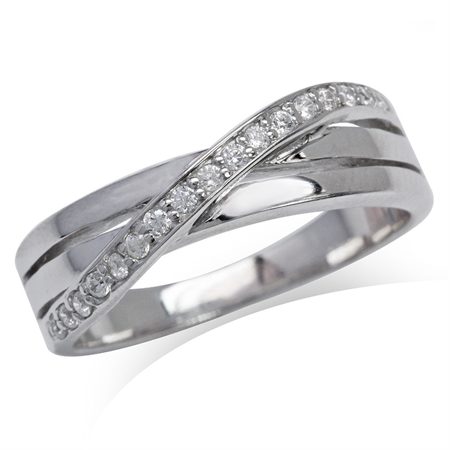White Gold Plated 925 Sterling Silver 3-Line Cross Over CZ Ring