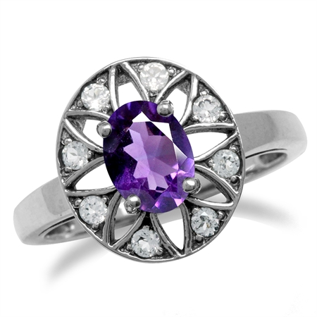 Natural African Amethyst & Topaz 925 Sterling Silver Sun Ray Inspired Filigree Ring