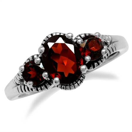 1.31ct. 3-Stone Natural Red Garnet 925 Sterling Silver Ring