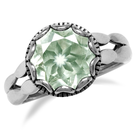 3.41ct. Natural Green Amethyst 925 Sterling Silver Unique & Vintage Style Ring