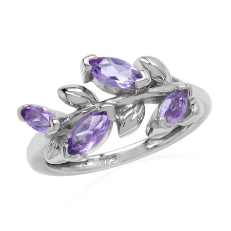 Natural Amethyst 925 Sterling Silver Flower & Leaf Vintage Inspired Ring