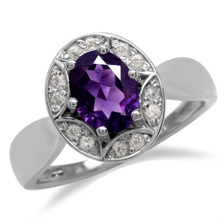 1.15ct. Natural African Amethyst 925 Sterling Silver Sun Ray Inspired Filigree Ring