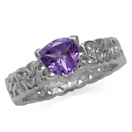 Natural Trillion Shape Amethyst 925 Sterling Silver Triquetra Celtic Knot Eternity Ring