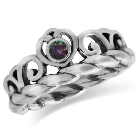 Mystic Fire Topaz 925 Sterling Silver Victorian Style Crown Rope Band Ring