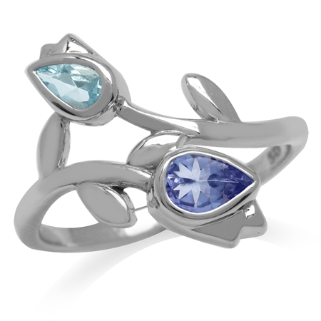 Genuine Tanzanite & Blue Topaz White Gold Plated 925 Sterling Silver Tulip/Flower Ring
