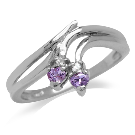 Amethyst & White Topaz Gold Plated 925 Sterling Silver Bypass Point Ring